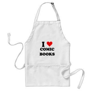 I Love Comic Books Adult Apron