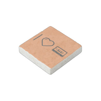 I Love Compact Cassettes Stone Magnet
