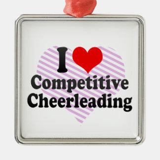 I love Competitive Cheerleading Metal Ornament