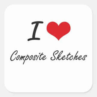 I love Composite Sketches Artistic Design Square Sticker