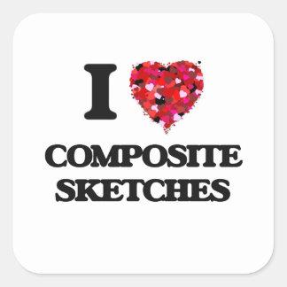 I love Composite Sketches Square Sticker