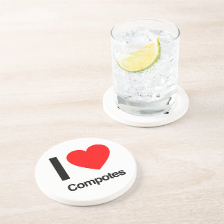 i love compotes drink coaster