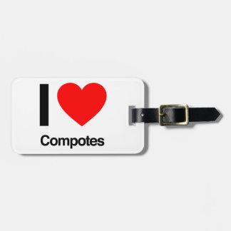 i love compotes luggage tag