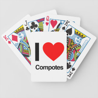 i love compotes bicycle card decks