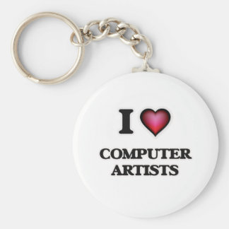 I love Computer Artists Basic Round Button Key Ring