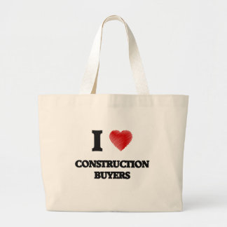 I love Construction Buyers (Heart made from words) Jumbo Tote Bag