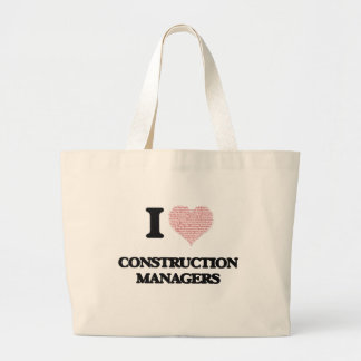 I love Construction Managers (Heart made from word Jumbo Tote Bag