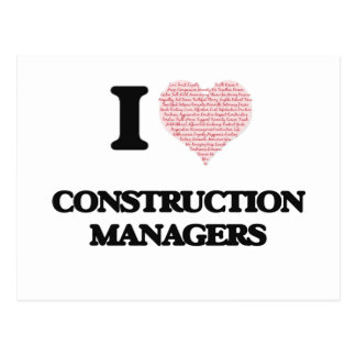 I love Construction Managers (Heart made from word Postcard