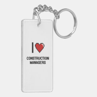 I love Construction Managers Double-Sided Rectangular Acrylic Key Ring