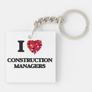 I love Construction Managers Double-Sided Square Acrylic Key Ring