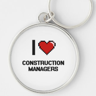 I love Construction Managers Silver-Colored Round Key Ring