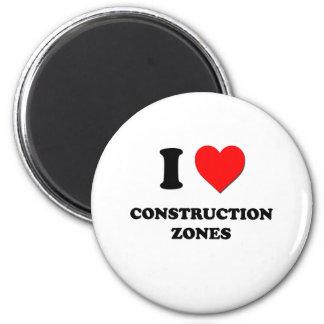 I love Construction Zones 6 Cm Round Magnet