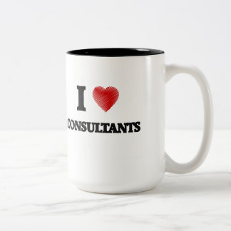 I love Consultants (Heart made from words) Two-Tone Mug