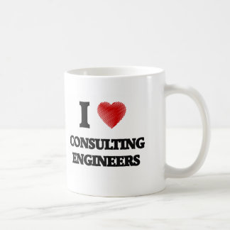 I love Consulting Engineers (Heart made from words Basic White Mug
