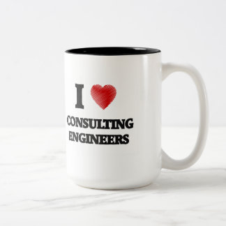 I love Consulting Engineers (Heart made from words Two-Tone Mug