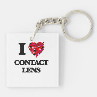 I love Contact Lens Double-Sided Square Acrylic Key Ring