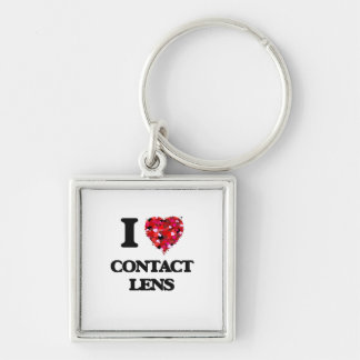 I love Contact Lens Silver-Colored Square Key Ring