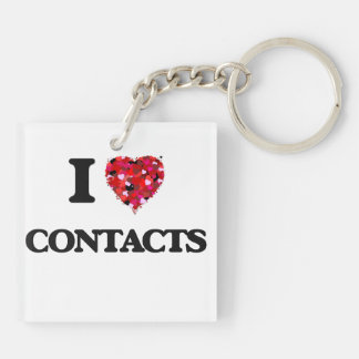 I love Contacts Double-Sided Square Acrylic Key Ring