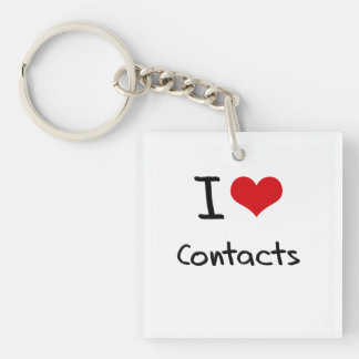 I love Contacts Single-Sided Square Acrylic Key Ring