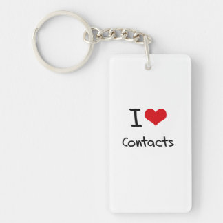 I love Contacts Double-Sided Rectangular Acrylic Key Ring
