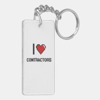 I love Contractors Double-Sided Rectangular Acrylic Key Ring