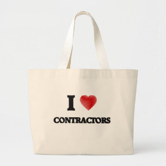 I love Contractors (Heart made from words) Jumbo Tote Bag
