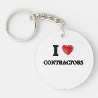 I love Contractors (Heart made from words) Single-Sided Round Acrylic Key Ring