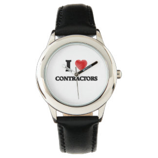 I love Contractors (Heart made from words) Wristwatch