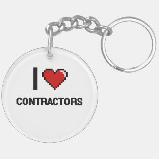 I love Contractors Double-Sided Round Acrylic Keychain