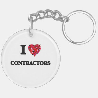 I love Contractors Double-Sided Round Acrylic Key Ring