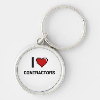 I love Contractors Silver-Colored Round Key Ring