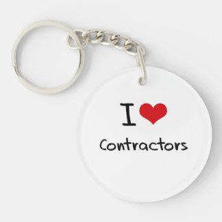 I love Contractors Single-Sided Round Acrylic Key Ring