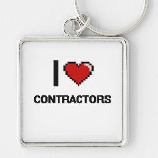 I love Contractors Silver-Colored Square Key Ring