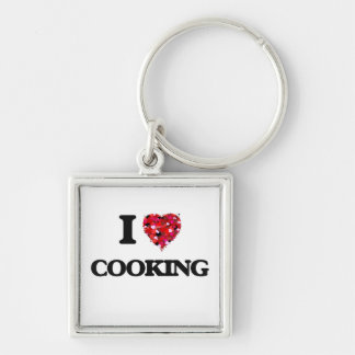 I love Cooking Silver-Colored Square Key Ring