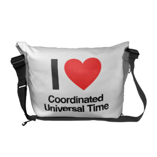 i love coordinated universal time courier bag
