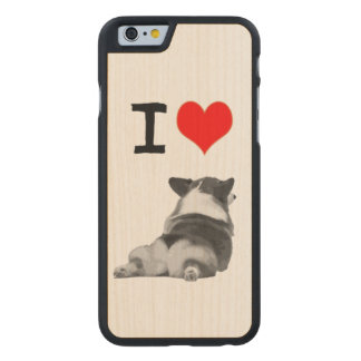 I love Corgi Butts Carved Maple iPhone 6 Case