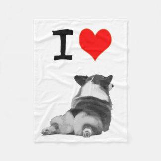 I Love Corgi Fleece Blanket