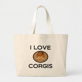 I Love Corgis Corgi Butt Large Tote Bag