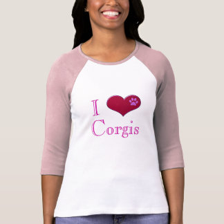 I Love Corgis Pink Ladies T-Shirt