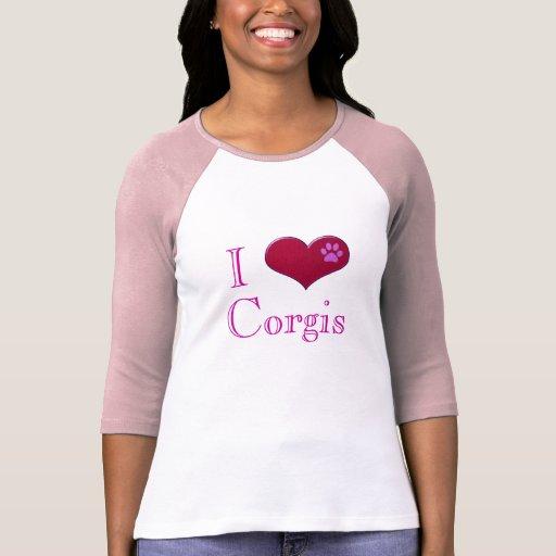 I Love Corgis Pink Ladies T-Shirt