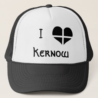 I Love Cornwall Kernow St Piran Flag Heart Design Trucker Hat