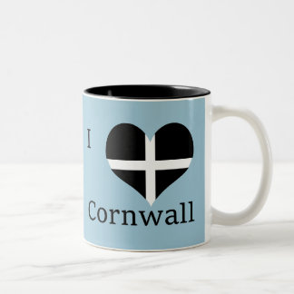 I Love Cornwall Kernow St Piran Flag Heart Design Two-Tone Coffee Mug