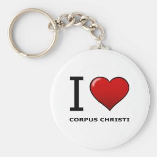 I LOVE CORPUS CHRISTI,TX - TEXAS BASIC ROUND BUTTON KEY RING