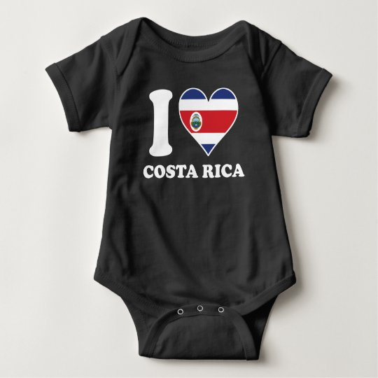 I Love Costa Rica Costa Rican Flag Heart Baby Bodysuit