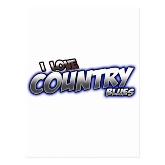 I Love Country BLUES music Postcard