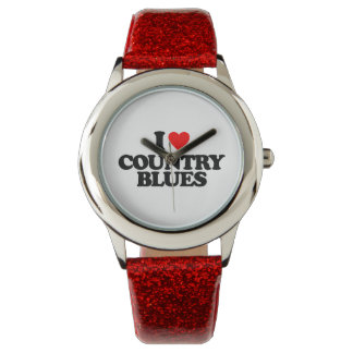 I LOVE COUNTRY BLUES WRISTWATCH