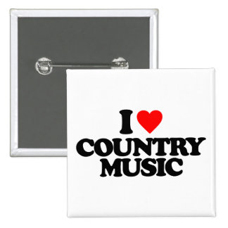 I LOVE COUNTRY MUSIC 15 CM SQUARE BADGE
