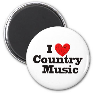 I Love Country Music 6 Cm Round Magnet