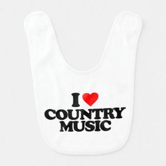 I LOVE COUNTRY MUSIC BABY BIBS