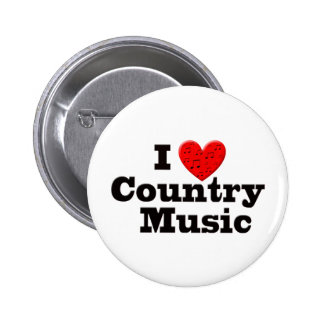 I Love Country Music Pinback Buttons